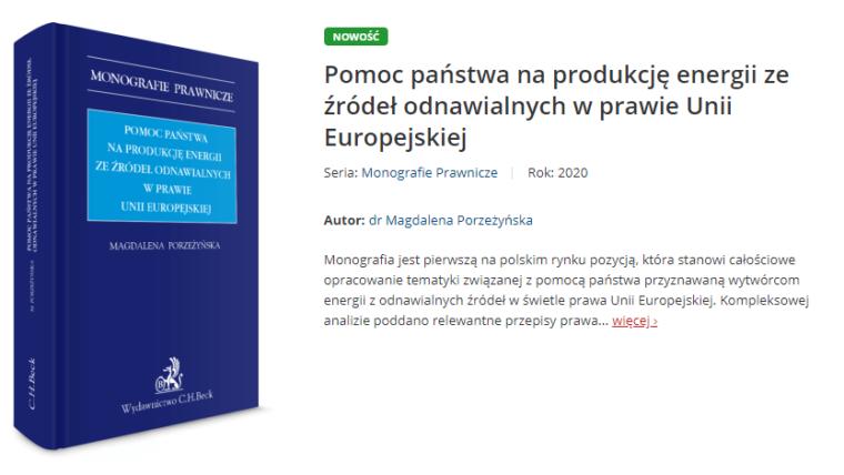 """Monografia """"Pomoc państwa na produkcję energii ze źródeł odnawialnych w prawie Unii Europejskiej"""" już dostępna"""
