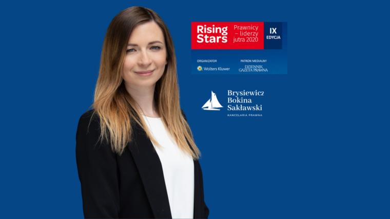 Zostałam zaszczycona nominacją w Konkursie Rising Stars Prawnicy – liderzy jutra 2020